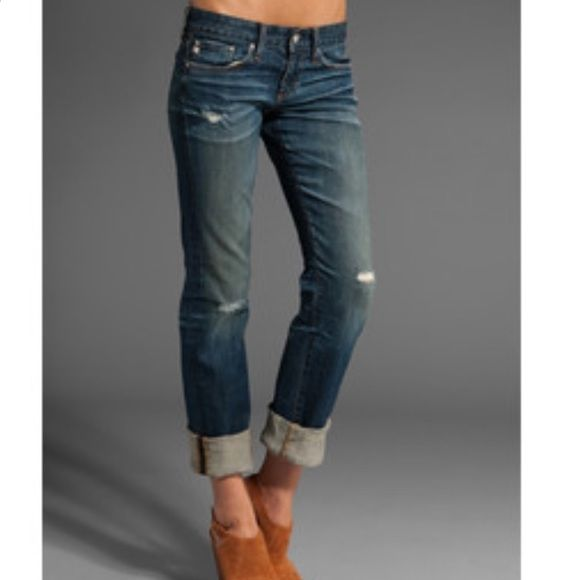 """AG Jeans Tomboy Fit Like New AG Jeans TB fit medium wash. Very comfortable and stylish. Can be worn regular or folded as shown in pictures. Premium quality pants a must have in your closet. These run true to size and are a relaxed straight leg fit. 32"""" long not folded and 29"""" folded. In Excellent Condition.  AG Adriano Goldschmied Jeans Boyfriend"""