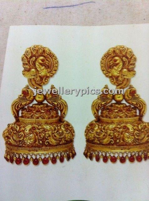 Hand work Gold jhumka designer model by Manjula jewels - Latest Jewellery Designs