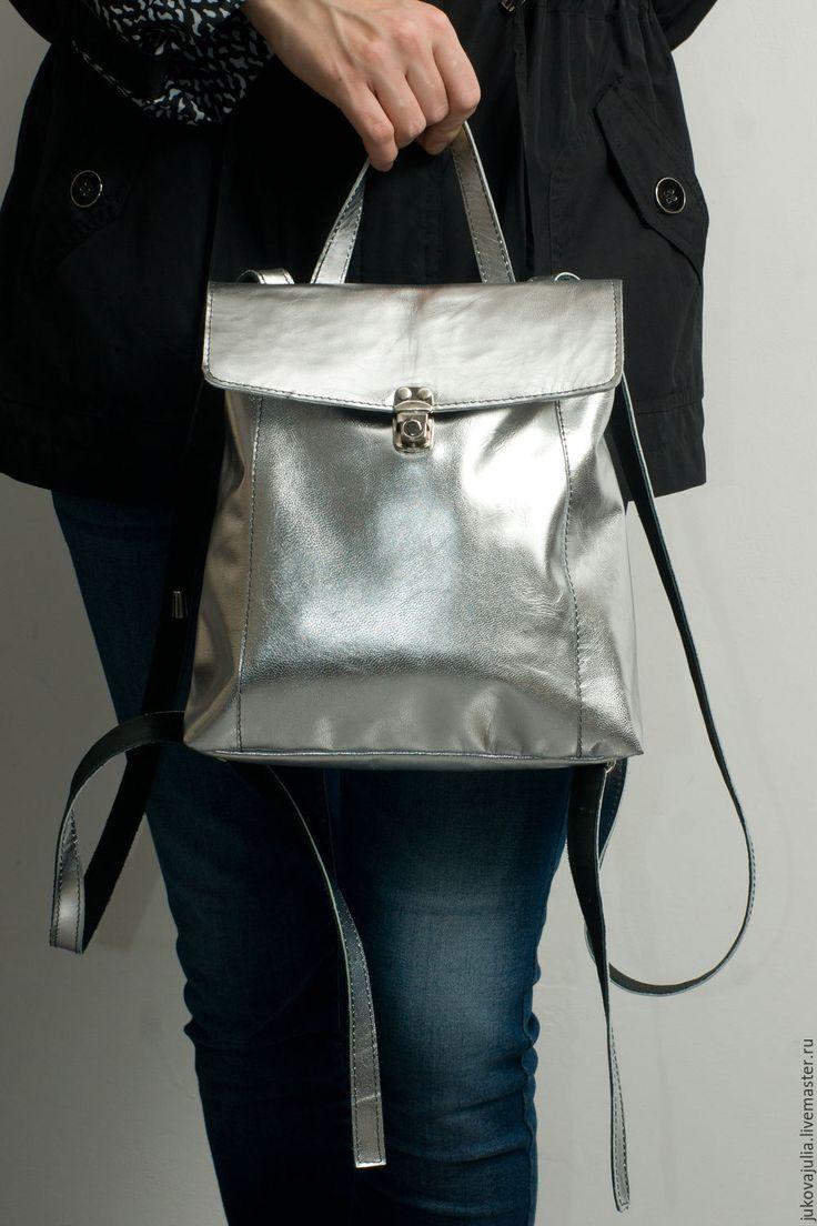 Купить Мини рюкзак портфель серебряный серебро из натуральной кожи - черный, однотонный, рюкзак