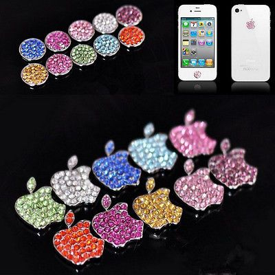 5 Pairs Bling Home Button Crystal Logo Sticker for iphone 4 4s ipod Case Cover
