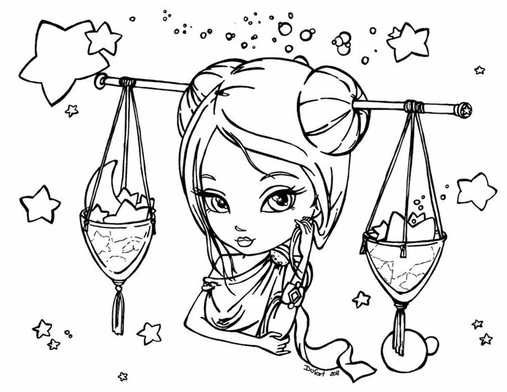 Zodiac Libra Coloring Pages Free Adult Coloring