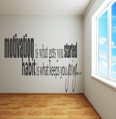 Adhesive Wall Decals - Motivation is what gets you going........................ inspirational quote - selected color: Black - Want different color ? Choose from 24 colors in