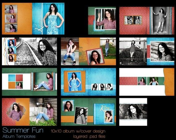 SUMMER FUN Album Templates for Photographers or by DoubleDiva, $25.00