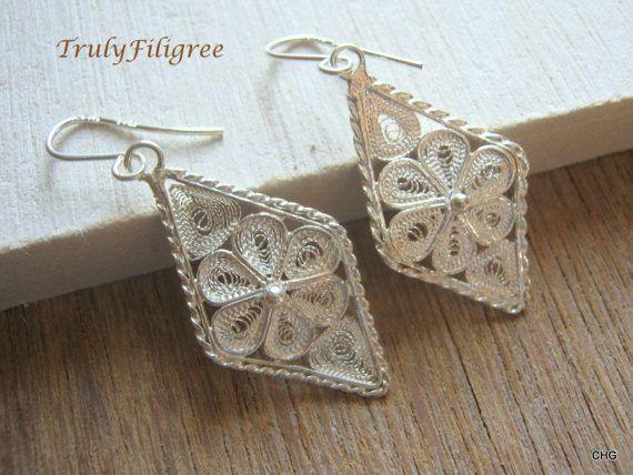 Handmade Sterling Silver Filigree Earrings Dangle by TrulyFiligree