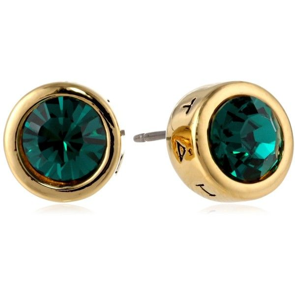 """T Tahari """"Essentials"""" Gold and Created Emerald Stud Earrings (79 BRL) ❤ liked on Polyvore featuring jewelry, earrings, gold jewellery, disc earrings, gold emerald earrings, bullet earrings and stud earrings"""