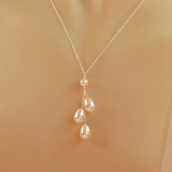 Pearl Necklace for Bride, Bridesmaid, Bridal Pearl Necklace, Swarovski Elements Pearl Necklace in Sterling Silver - The Pearl Drops Necklace