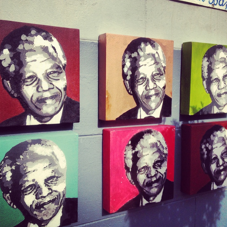 We love these paintings of (South) African icon, Mr Nelson #Mandela found in Kalk Bay. Colourful!