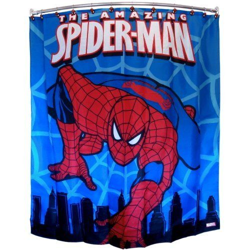 The amazing spiderman shower curtain by spider man http for Spiderman bathroom ideas