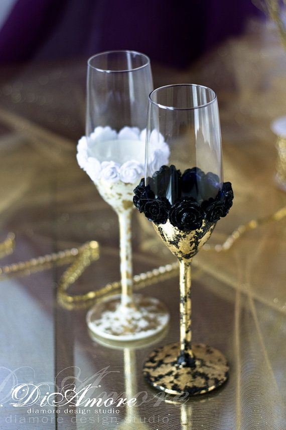 Gold Gatsby Style wedding Champagne Flutes/ black and от DiAmoreDS