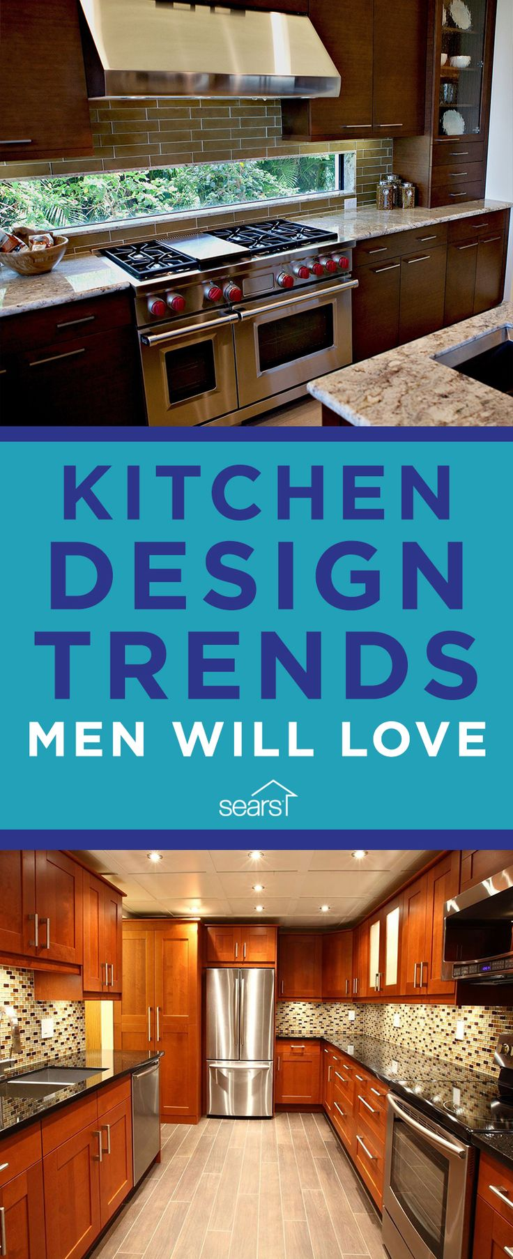 Turn your kitchen into the ultimate man cave! From beer and wine fridges to a salamander broiler and kitchen entertainment centers, here are some gadgets and appliances to help you create a tricked-out kitchen man cave that everyone will love. Visit the Sears Home Services blog for the full list of kitchen trends.