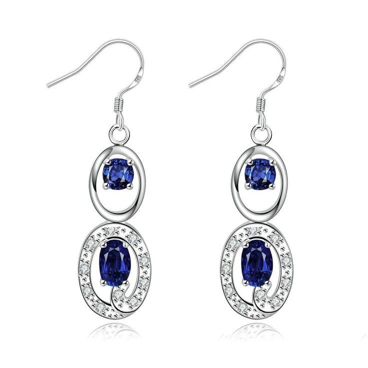 Epinki Schmuck, 18K Weiß Gold Damen Tropfen Ohrringe Angelhaken Unendlichkeit 8 Blau Swarovski Elements Kristall: Amazon.de: Schmuck
