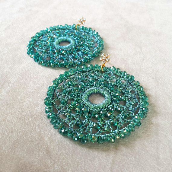 Christmas gift for her teal crochet statement by ELSLondon on Etsy