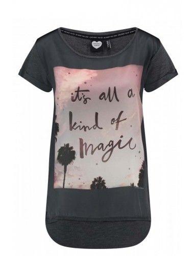 LA Catwalk Junkie  Dames T-shirt  Korte mouwen Ronde hals Geweven voorzijde Magic + palmbomen  Donker grijs Katoen