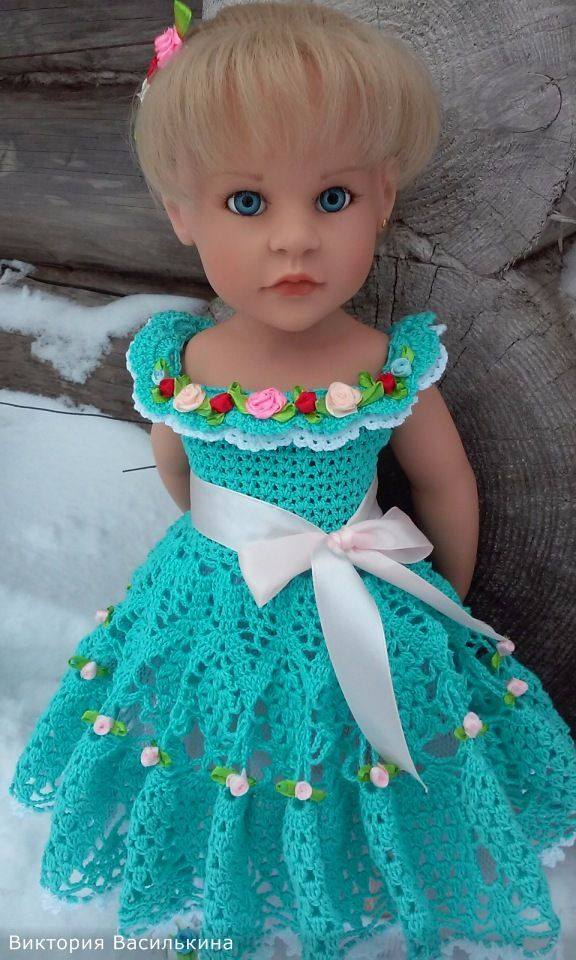 Нарядное, вязаное платье для кукол Gotz (Готц). / Одежда для кукол / Шопик. Продать купить куклу / Бэйбики. Куклы фото. Одежда для кукол
