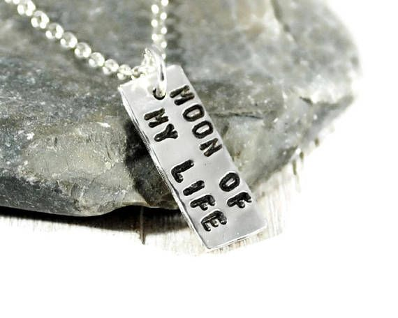 Moon Of My Life. Tiny Sterling Silver Tag Necklace.
