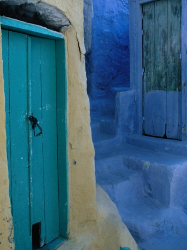 Painted Stepped Alley and Green Wooden Door, Pothia, Kalymnos, Greece by Jeffrey Becom