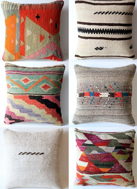 handwoven wool cushions made from vintage kilim. jUST Beautiful