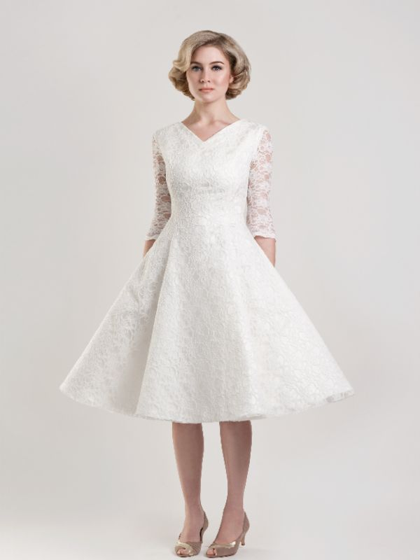 Knee Length Wedding Dresses for Older Brides