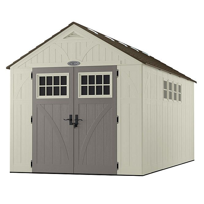 """Craftsman 8' 4.5"""" x 16' 1"""" Resin Shed - 882 cu. ft. - Exclusive  VersaTrack™ Compatibility Sears - $1,799.99"""