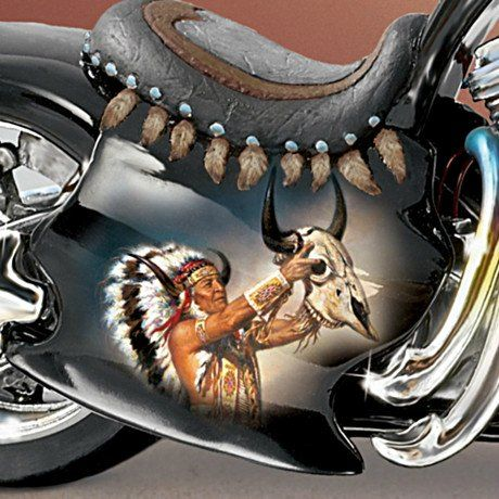 This Native American-style motorcycle figurine makes an incredible addition to your diecast collection, or a terrific biker gift, but do not wait. Description from carosta.com. I searched for this on bing.com/images