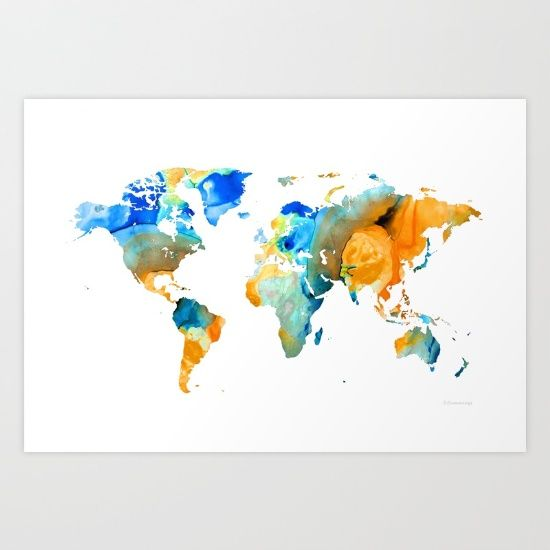 2820 best art i love images on pinterest fine art print world map art map of the world 14 by sharon cummings art print sciox Images