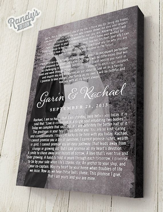 Personalized Wedding Or Anniversary Gift Custom Canvas Art Vows With Photo
