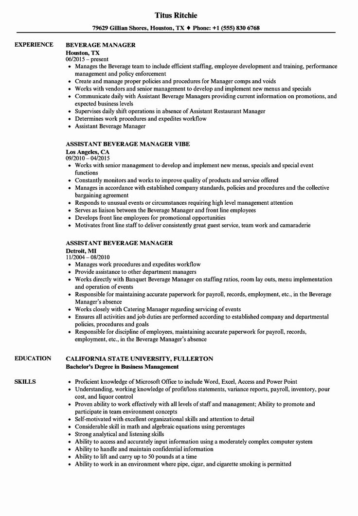Food and Beverage Manager Resume Awesome Beverage Manager