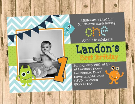 Little Monster Birthday Party Chevron Invitation- Printable