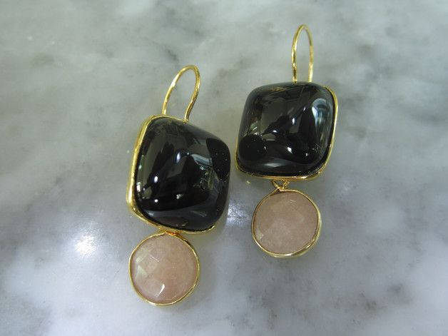 Chandeliers - Ohrringe Onyx Mondstein Kugel Unikat Luxus Gold - ein Designerstück von TOMKJustbe bei DaWanda