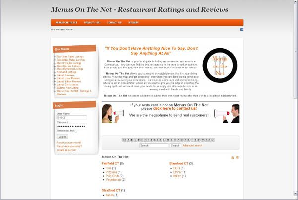 Menus On The Net