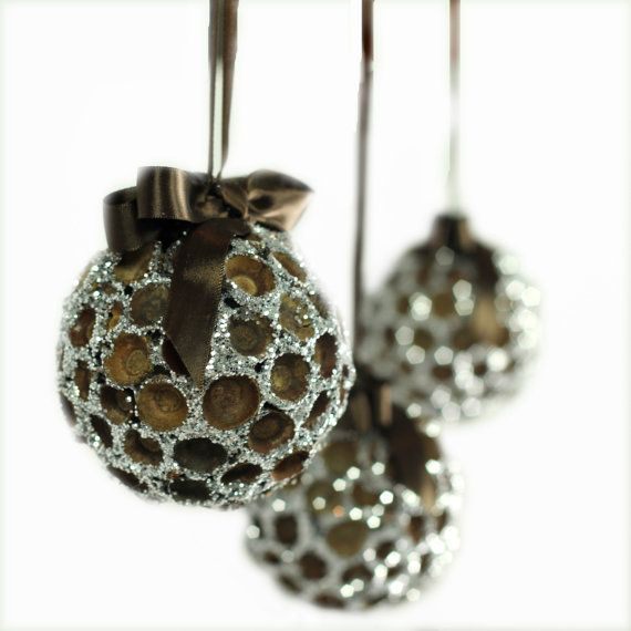 Natural christmas ornaments large handmade organic for How to make acorn ornaments