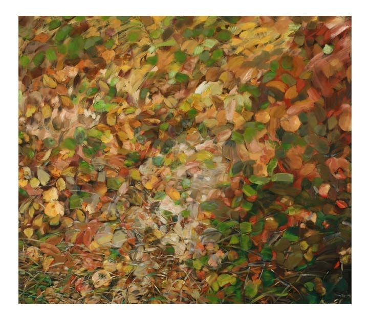 Olio -1990  Fondo di cachi e foglie