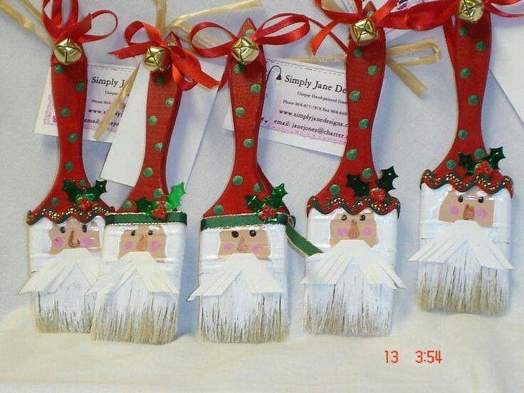 Santa Paintbrush Ornaments