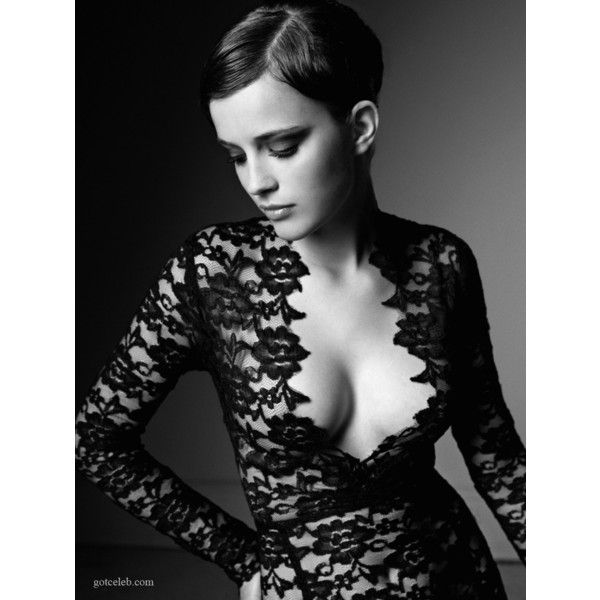 Emma Watson (black lace dress, cleavage) Unknown Black & White Photo... ❤ liked on Polyvore