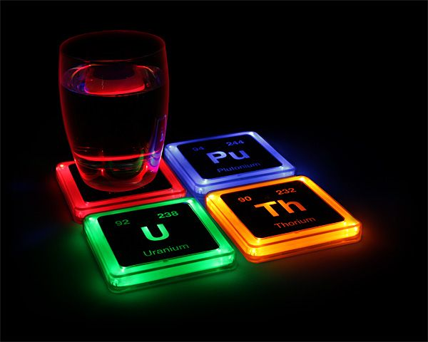 Radioactive periodic table elements light up coasters for science geeks - http://ragebear.com/to/elements-glowing-coaster-set