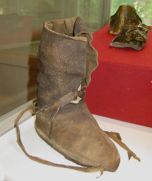 Leather boot, 13th century, Linköping Castle and Cathedral Museum