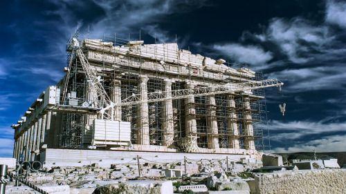 The Parthenon by mattdemoraes  sky landscape greece travel blue europe rock tourism building grass history green stone ancient colu