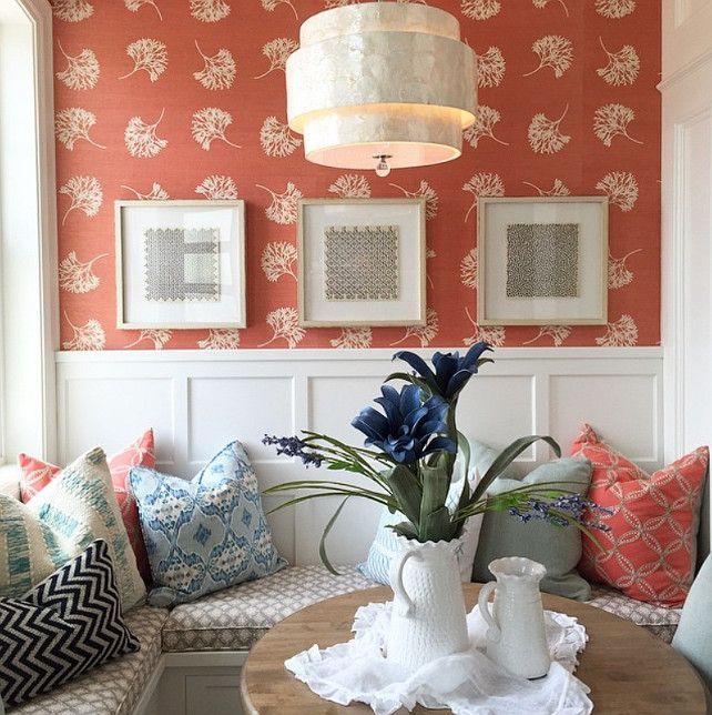 Coral Wallpaper. Coral Wallpaper Ideas. Coral wallpaper. #Wallpaper #Coral #CoralWallpaper Four Chairs Furniture & Design