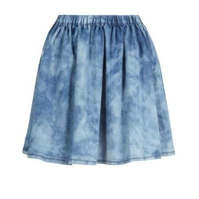 $17, Blue Denim Skater Skirt: New Look Light Blue Denim Acid Wash Skater Skirt by Exclusives. Sold by New Look. Click for more info: http://lookastic.com/women/shop_items/112637/redirect
