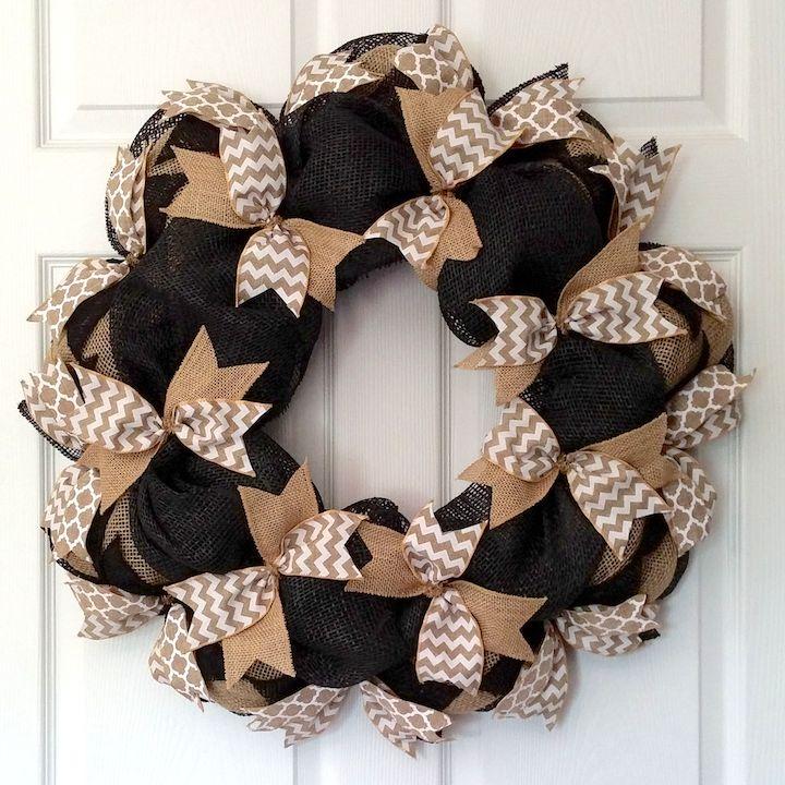 Burlap & Black Ribbon Wreath
