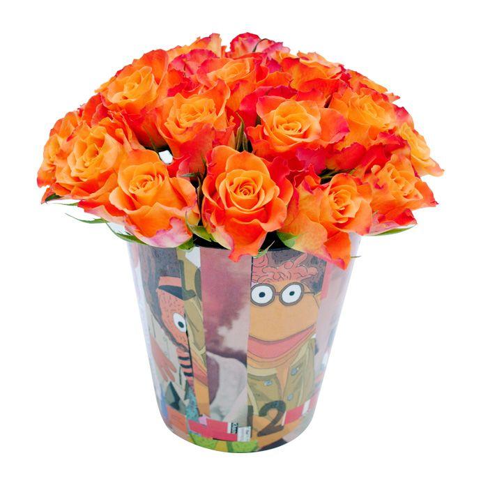 Handmade collage pot with orange roses www.fleria.gr