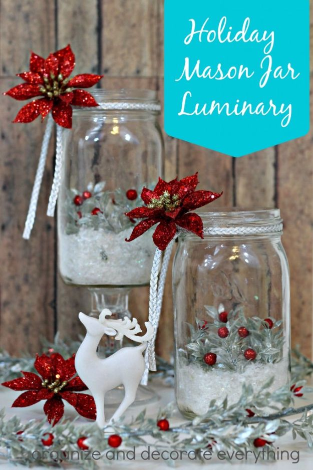 DIY Christmas Luminaries and Home Decor for The Holidays - Holiday Mason Jar Luminary - Cool Candle Holders, Tea Lights, Holiday Gift Ideas, Christmas Crafts for Kids - Line Winter Walkways With Rustic Mason Jars, Paper Bag Luminaries and Creative Lighting Ideas http://diyjoy.com/diy-christmas-luminaries