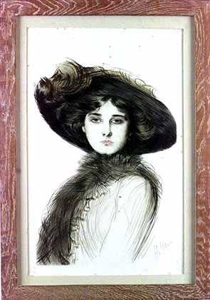 Retrato de Victoria Ocampo - Dibujo en punta seca. Artista: Paul-Cesar Helleu. Fecha: 1910.