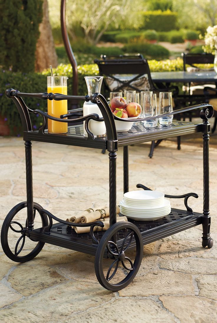 Our Carlisle Onyx Serving Cart makes it beautifully easy to enjoy tableside service while you dine or imbibe. Merely push to bring beverages and foods to guests.