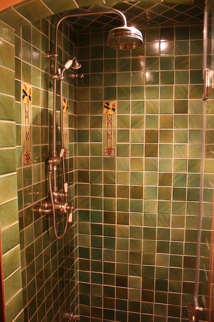 beautiful shower surround with craftsman style handmade tile from north prairie tileworks see more at