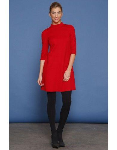 Mini sukienka z golfem - czerwony
