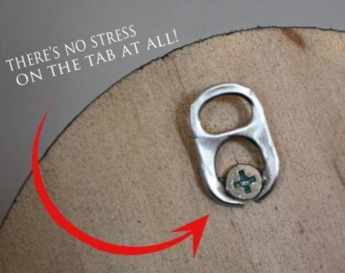 Use a soda tab to hang art simply and inexpensively.
