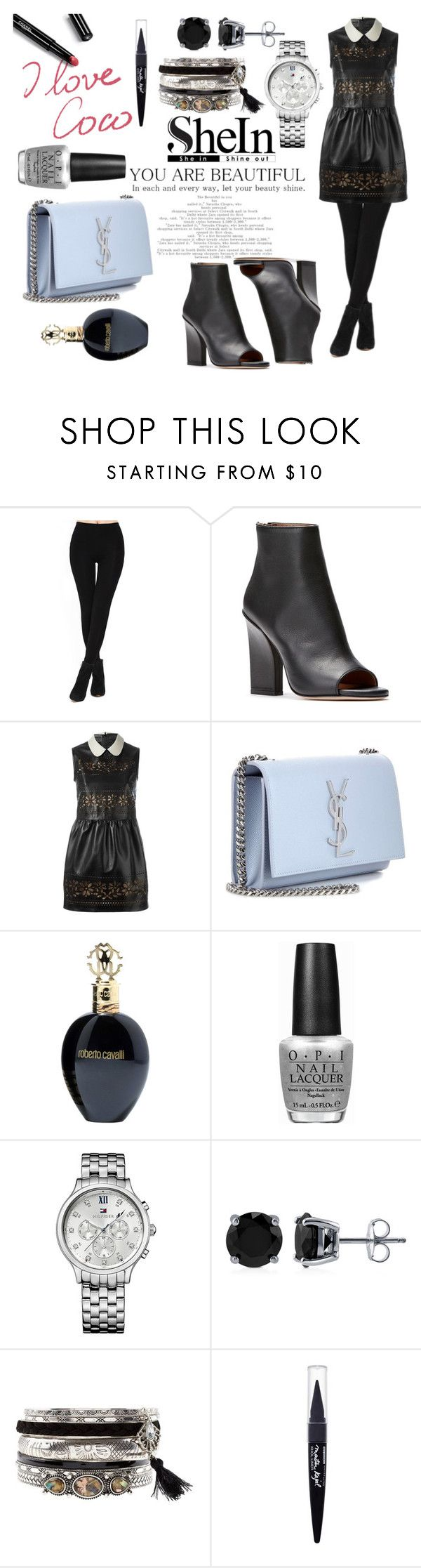 """Shine in Black"" by blackheaven on Polyvore featuring Yves Saint Laurent, Chanel, Roberto Cavalli, OPI, Tommy Hilfiger, BERRICLE and Maybelline"