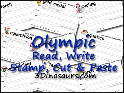 Free 27 page printable to go with the Summer Olympics Pack. This is a Read, Write, Stamp, Cut and Paste. 3Dinosaurs.com