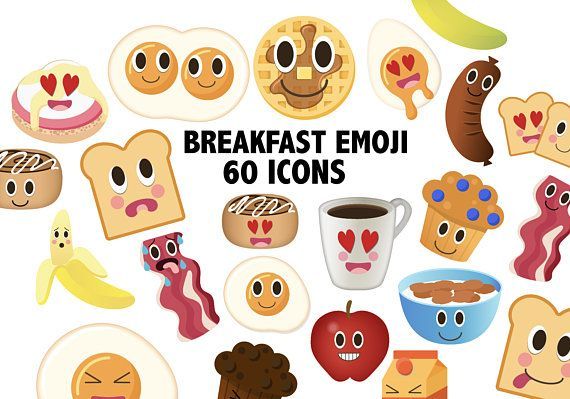 Breakfast Emoji Kawaii Brunch Clipart Kawaii Eggs And Toast Etsy Emoji Clip Art Emoji Characters